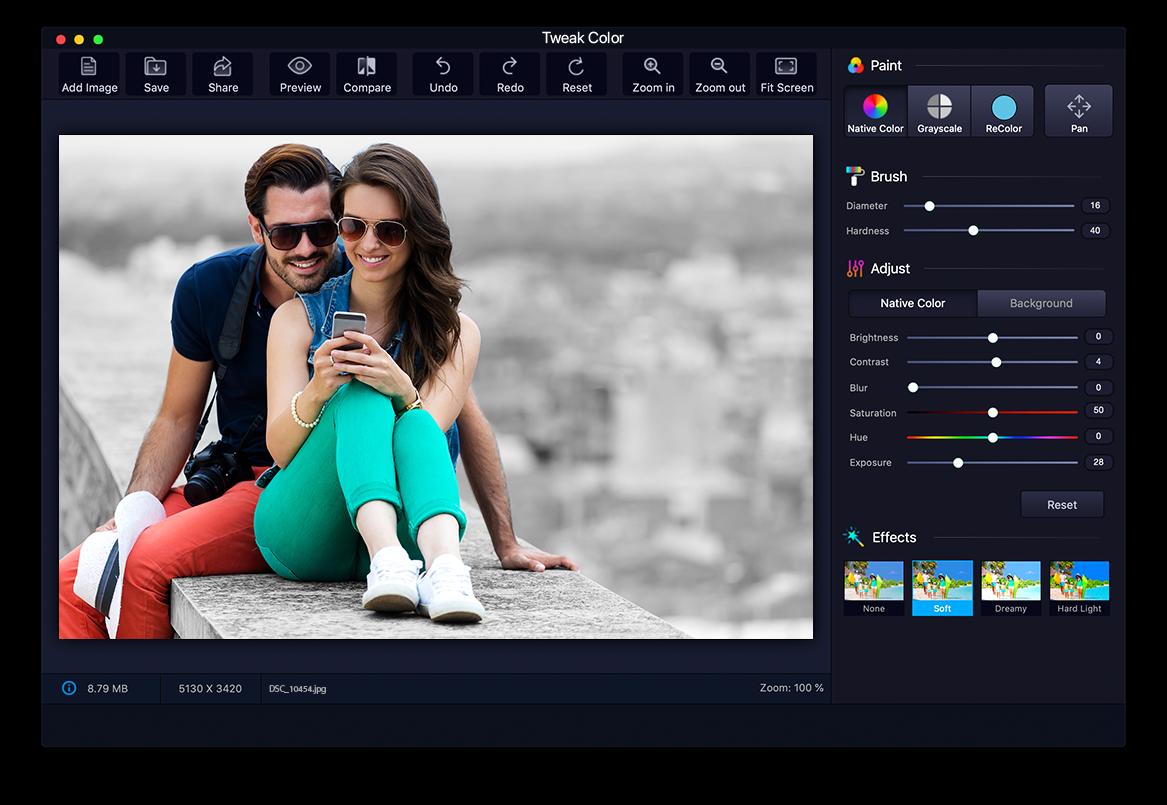 Tweak Color- Coloring and Photo Editing App for Mac
