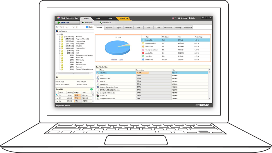 Disk Analyzer Pro - Hard Disk Space Usage Analyzer And Manager